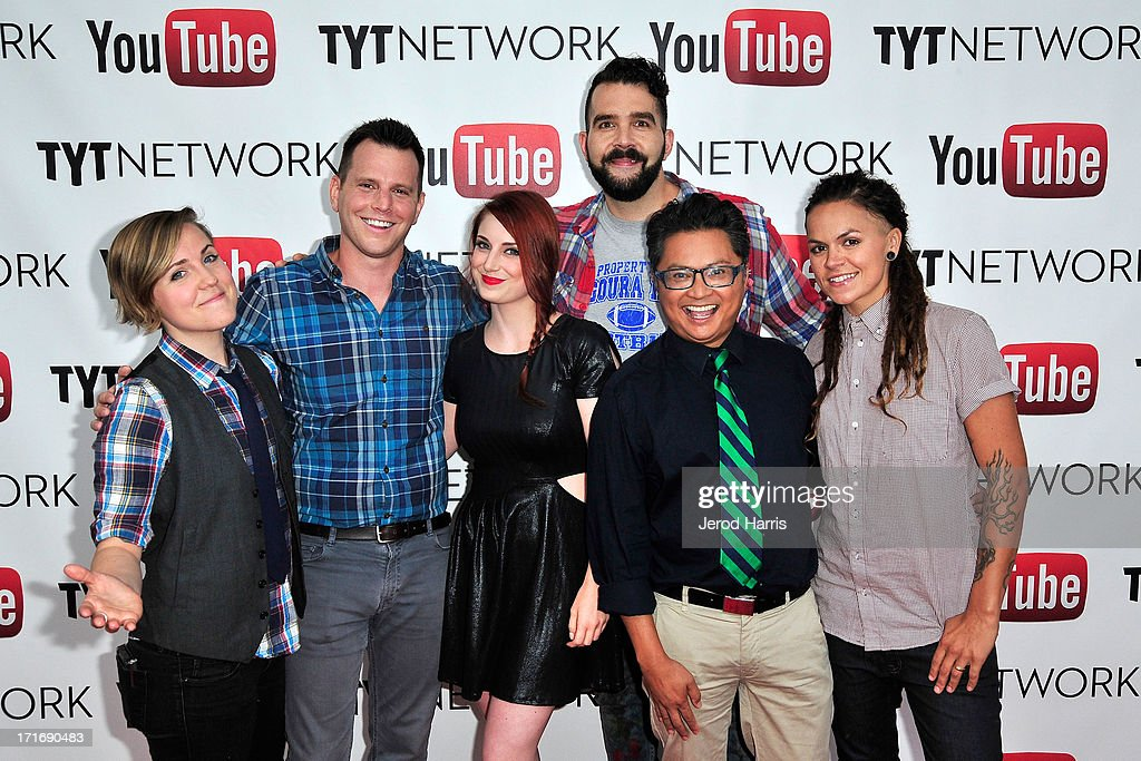 Hannah Hart, David Rubin, Bree Essrig, Johnny McGovern, <a gi-track='captionPersonalityLinkClicked' href=/galleries/search?phrase=Alec+Mapa&family=editorial&specificpeople=574810 ng-click='$event.stopPropagation()'>Alec Mapa</a> and Whitney Mixter arrive at YouTube and TYT Network Present the 1st Annual YouTube PRIDE Party Hosted By Dave Rubin at YouTube Space LA on June 27, 2013 in Los Angeles, California.