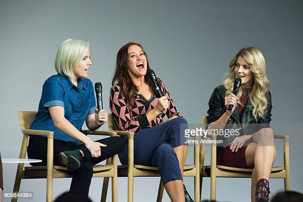 Hannah Hart Mamrie Hart and Grace Helbig attend Apple Store Soho Presents Meet the Cast Dirty 30 at Apple Store Soho on September 22 2016 in New York...