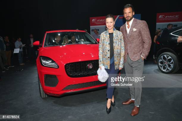 Hannah Herzsprung and Stephan Luca during the Jaguar Land Rover global reveal and presentation of the premium compact SUV 'EPACE' car at ExCel on...