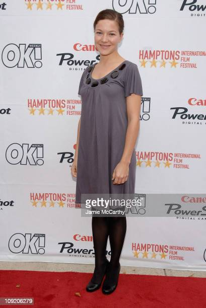 Hannah Herzsprung arrives at the Hamptons Film Festival Screening Four Minutes Red Carpet at United Artists Theater in East Hampton New York October...