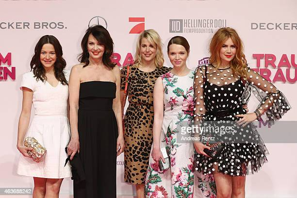 Hannah Herzsprung Iris Berben Anika Decker Karoline Herfurth and Palina Rojinski attend the Traumfrauen premiere at CineStar on February 17 2015 in...