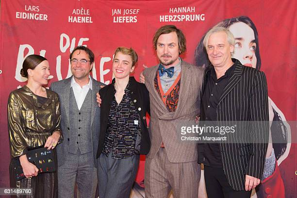 Hannah Herzsprung Jan Josef Liefers Adele  Haenel Lars Eidinger Chris Kraus attend attend the 'Die Blumen von gestern' Premiere at Kino International...