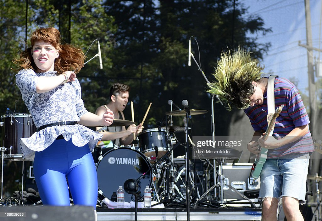 Hannah Hooper (L) and Christian Zucconi of Grouplove perform as part of the Bottle Rock Music Festival at the Napa Expo on May 12, 2013 in Napa, California.