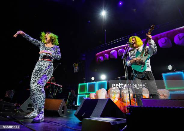 Hannah Hooper and Christian Zucconi of Grouplove perform during the Evolve World Tour at Little Caesars Arena on October 19 2017 in Detroit Michigan