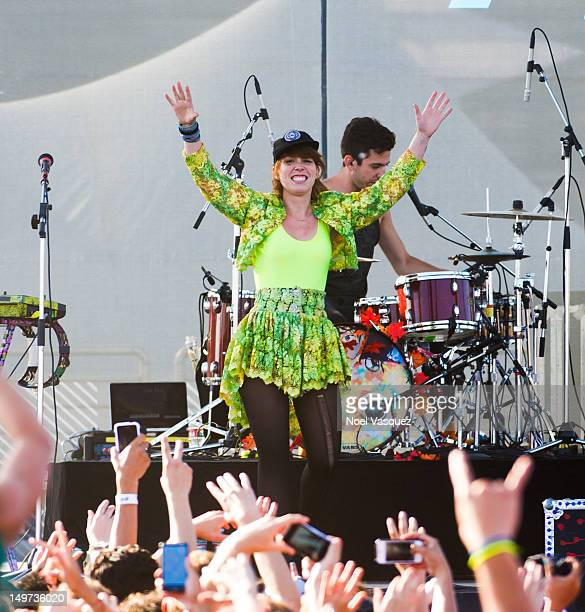 Hannah Hooper and Ryan Rabin of Grouplove perform at the 2012 Nike US Open of surfing concert series on August 2 2012 in Huntington Beach California