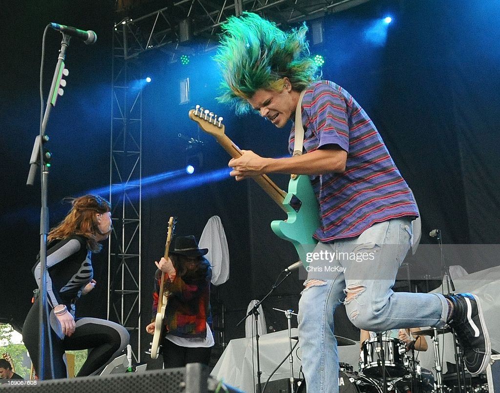 Hannah Hooper, Christian Zucconi, and Sean Gadd of Grouplove perform during Party In The Park 2013 at Centennial Olympic Park on May 18, 2013 in Atlanta, Georgia.