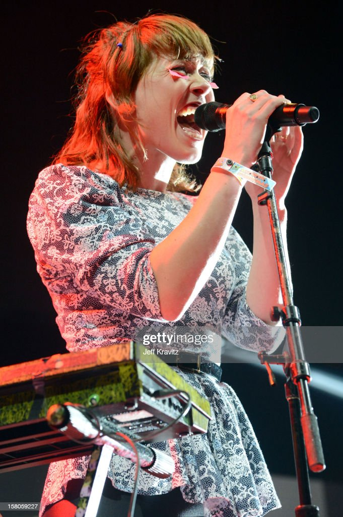 Hannah Hooper of Grouplove performs at the KROQ Acoustic Xmas show at Gibson Amphitheatre on December 9, 2012 in Universal City, California.