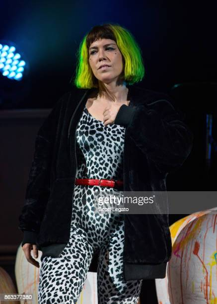 Hannah Hooper of Grouplove performs during the Evolve World Tour at Little Caesars Arena on October 19 2017 in Detroit Michigan