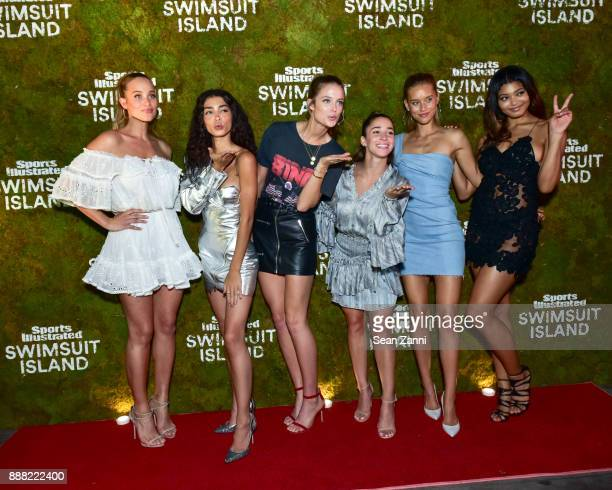 Hannah Jeter Raven Lyn Kate Bock Aly Raisman Chase Carter and Danielle Herrington attend the Sports Illustrated Sneak Peek of its SI Swimsuit Island...