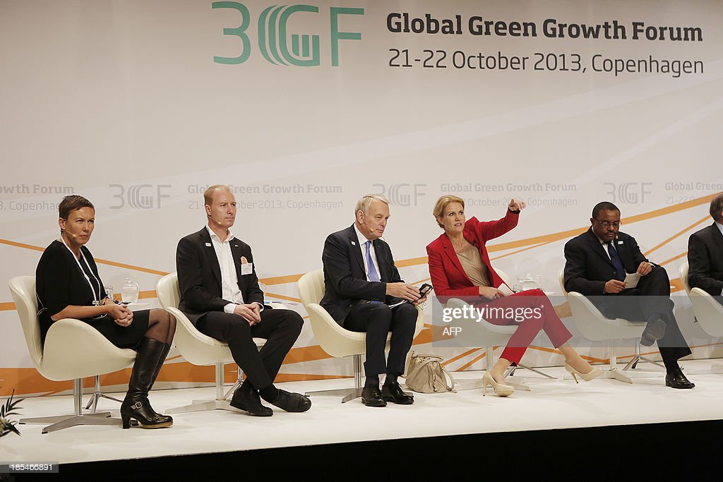 Hannah Jones, Vice-President of Nike, Peter Agnefjall, CEO of Swedish furniture giant Ikea, French Prime Minister Jean-Marc Ayrault, Danish Prime Minister Helle Thorning-Schmidt and Ethiopia's Prime Minister Hailemariam Desalegn attend the international climate conference Global Green Growth Forum on October 21, 2013 at the Ministry of Foreign Affairs in Copenhagen. The forum aims to be a platform for developing new or enhancing existing public-private partnerships for promoting green growth, hosted by the Danish Government in partnership with the Governments of China, Kenya, Korea, Mexico and Qatar according to the organisers.
