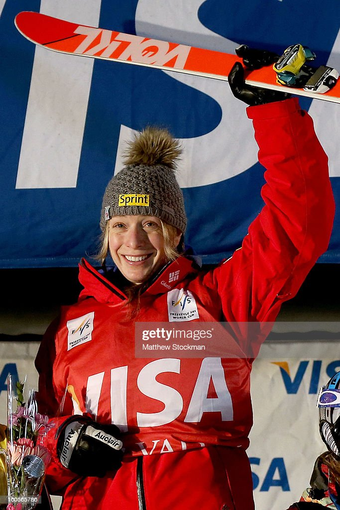 Hannah Kearney #3 celebrates first place on the winners podium after winning the Ladies Dual Moguls during the Visa Freestyle International at Deer Valley on February 2, 2013 in Park City, Utah.