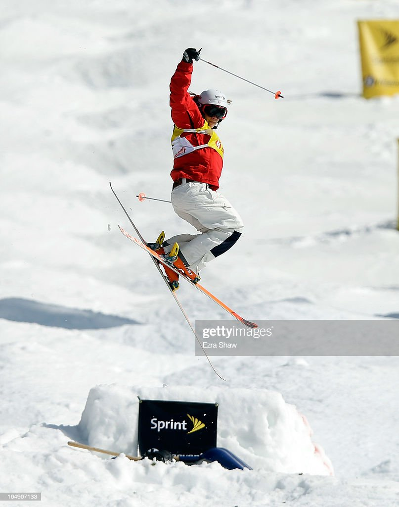 Hannah Kearney competes in the Ladie's Moguls final at the U.S. Freestyle Moguls National Championship at Heavenly Resort on March 29, 2013 in South Lake Tahoe, California. Kearney finished in second place.