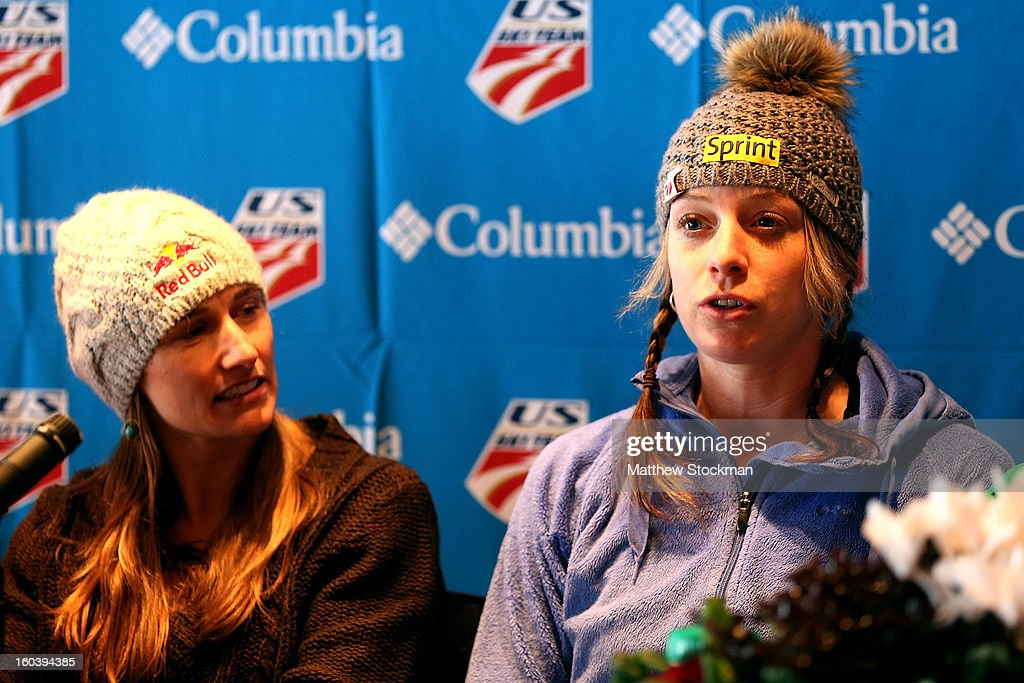 Hannah Kearney fields questions from the media at a press conference for the US Freestyle Team during the Visa Freestyle International at Deer Valley on January 30, 2013 in Park City, Utah.