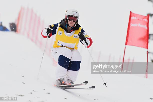 Hannah Kearney of the USA takes 1st place during the FIS Freestyle Skiing Dual Moguls on March 15 2015 in Megeve France