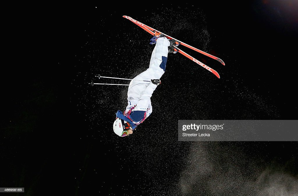 Hannah Kearney of the USA trains during moguls practice at the Extreme Park at Rosa Khutor Mountain ahead of the Sochi 2014 Winter Olympics on February 5, 2014 in Sochi, Russia.