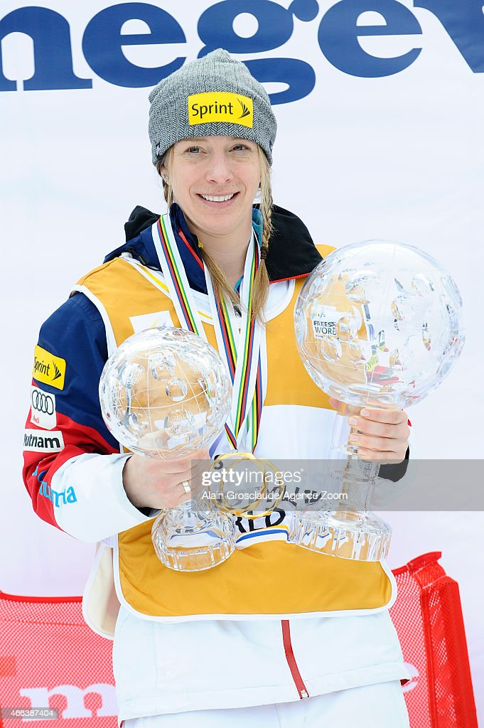 <a gi-track='captionPersonalityLinkClicked' href=/galleries/search?phrase=Hannah+Kearney&family=editorial&specificpeople=228988 ng-click='$event.stopPropagation()'>Hannah Kearney</a> of the USA wins the overall globe for the FIS Freestyle Skiing Dual Moguls on March 15, 2015 in Megeve, France.