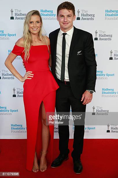Hannah Laity and Beauden Barrett of the All Blacks before the 2016 Halberg Awards at Vector Arena on February 18 2016 in Auckland New Zealand