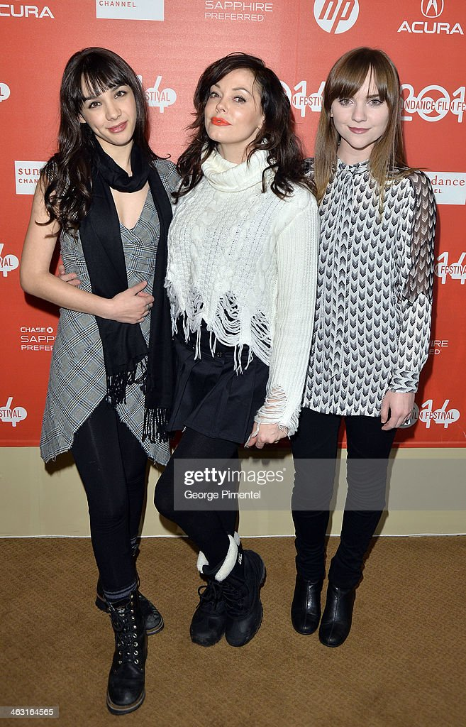<a gi-track='captionPersonalityLinkClicked' href=/galleries/search?phrase=Hannah+Marks&family=editorial&specificpeople=572461 ng-click='$event.stopPropagation()'>Hannah Marks</a>, <a gi-track='captionPersonalityLinkClicked' href=/galleries/search?phrase=Rose+McGowan&family=editorial&specificpeople=206451 ng-click='$event.stopPropagation()'>Rose McGowan</a> and Tara Barr attend the premiere of 'The Dawn' at the Egyptian Theatre during the 2014 Sundance Film Festival on January 16, 2014 in Park City, Utah.