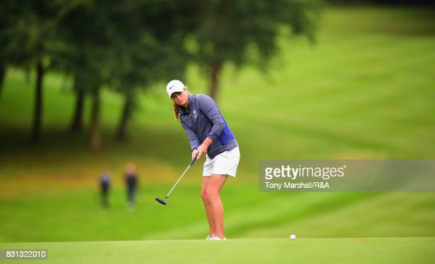 Hannah McCook of Scotland putts on the 3rd green during The Ladies' and Girls' Home Internationals at Little Aston Golf Club on August 11 2017 in...