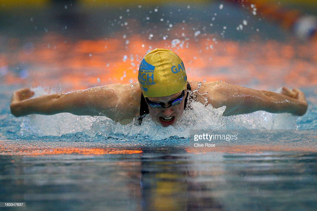 <a gi-track='captionPersonalityLinkClicked' href=/galleries/search?phrase=Hannah+Miley+-+Swimmer&family=editorial&specificpeople=4333059 ng-click='$event.stopPropagation()'>Hannah Miley</a> competes in the Women's 400m Individual Medley heats on day two of the 2013 British Gas International meeting at John Charles Centre for Sport on March 8, 2013 in Leeds, England.