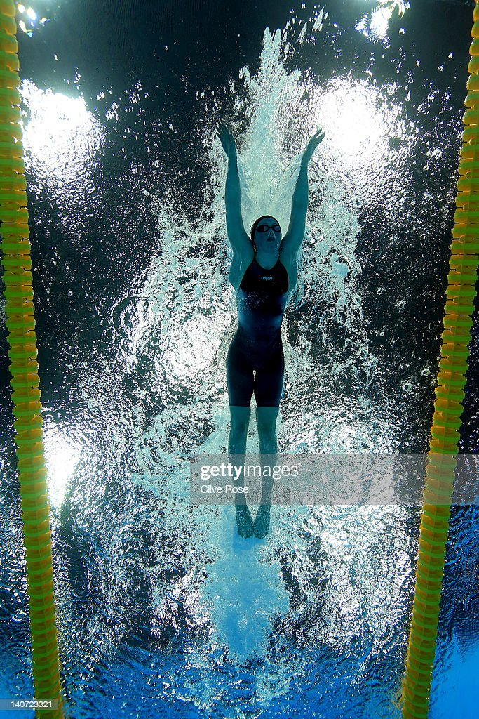 <a gi-track='captionPersonalityLinkClicked' href=/galleries/search?phrase=Hannah+Miley+-+Swimmer&family=editorial&specificpeople=4333059 ng-click='$event.stopPropagation()'>Hannah Miley</a> of Garioch ASC competes in the Women's 200m Individual Medley Semi Final 2 during day three of the British Gas Swimming Championships at the London Aquatics Centre on March 5, 2012 in London, England.