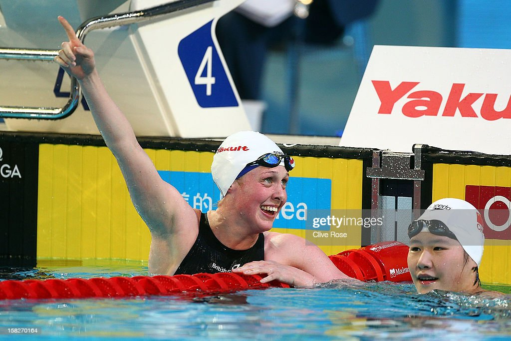 <a gi-track='captionPersonalityLinkClicked' href=/galleries/search?phrase=Hannah+Miley+-+Swimmer&family=editorial&specificpeople=4333059 ng-click='$event.stopPropagation()'>Hannah Miley</a> of Great Britain celebrates winning the Women's 400m Individual Medley Final during day one of the 11th FINA Short Course World Championships at the Sinan Erdem Dome on December 12, 2012 in Istanbul, Turkey.