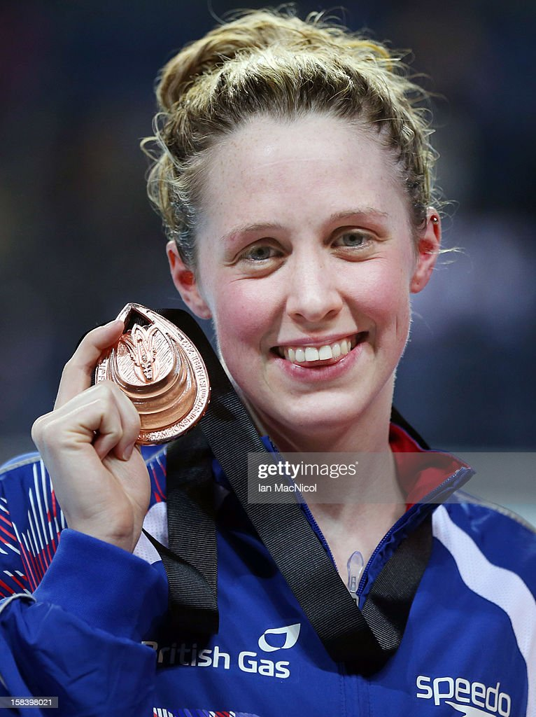 Hannah Miley of Great Britain poses with her bronze medal from the women's 200m individuval medley final during day four of the 11th FINA Short Course World Championships at the Sinan Erdem Dome on December 14, 2012 in Istanbul, Turkey.
