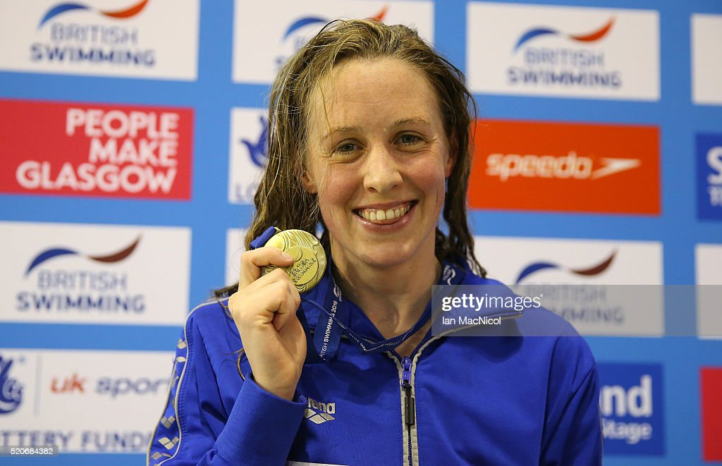 <a gi-track='captionPersonalityLinkClicked' href=/galleries/search?phrase=Hannah+Miley+-+Swimmer&family=editorial&specificpeople=4333059 ng-click='$event.stopPropagation()'>Hannah Miley</a> poses with her gold medal from the Women's 400IM during Day One of The British Swimming Championships at Tollcross International Swimming Centre on April 12, 2016 in Glasgow, Scotland.