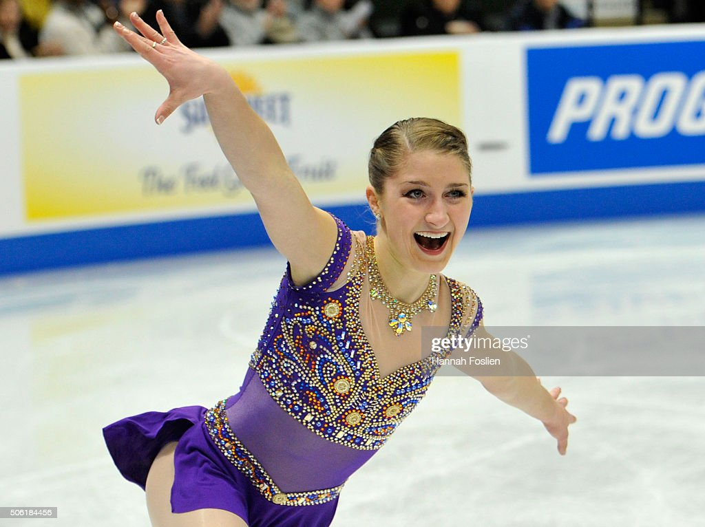 Hannah Miller competes in the Ladies' Short Program at the 2016 Prudential U.S. Figure Skating Championship on January 21, 2016 at Xcel Energy Center in St Paul, Minnesota.