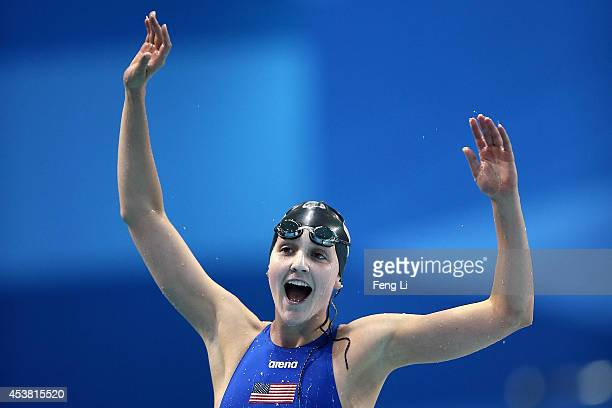 Hannah Moore of the United States celebrates winning the Women's 200m Backstroke Final on day three of Nanjing 2014 Summer Youth Olympic Games at...