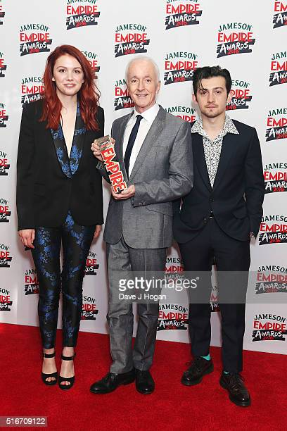 Hannah Murray Anthony Daniel and Craig Roberts pose in the winners room at the Jameson Empire Awards 2016 at The Grosvenor House Hotel on March 20...