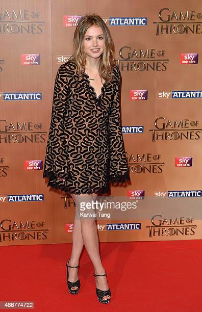 Hannah Murray arrives for the world premiere of Game of Thrones Season 5 at Tower of London on March 18 2015 in London England