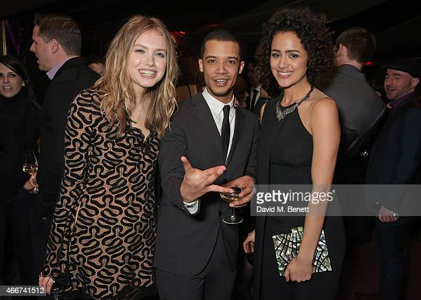 Hannah Murray Jacob Anderson and Nathalie Emmanuel attend the 'Game Of Thrones Season 5' UK Premiere After Party at the Tower of London on March 18...