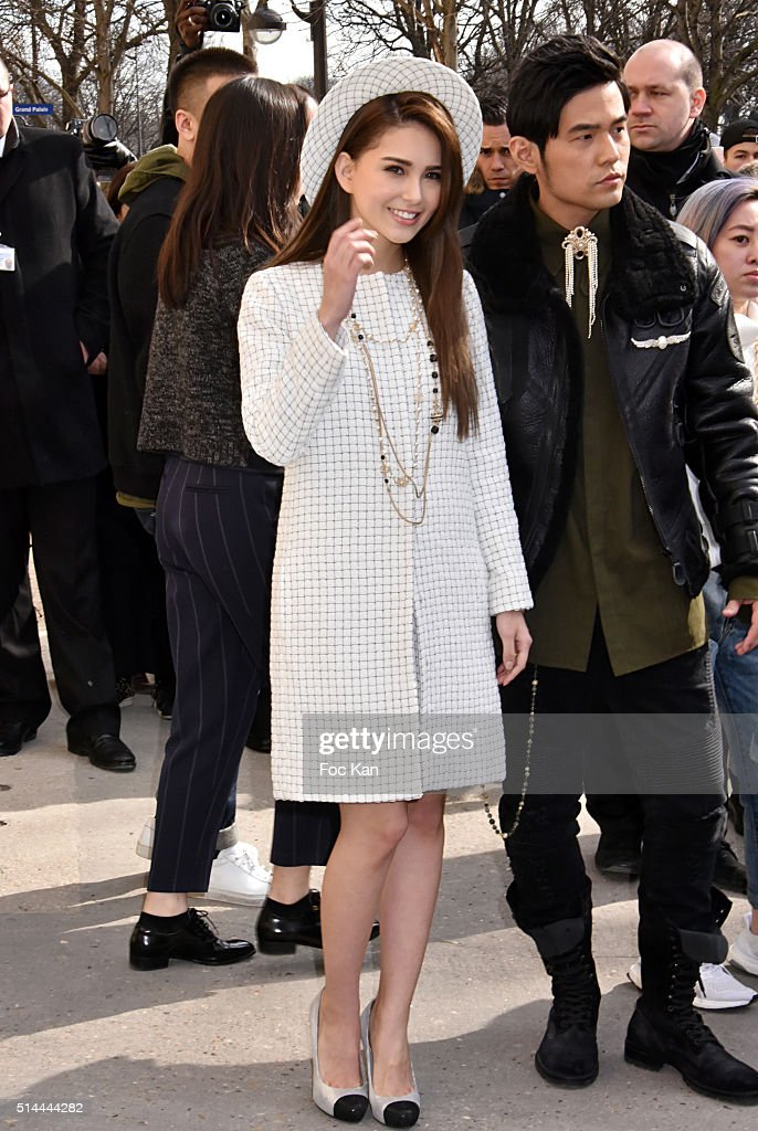 Hannah Quinlivan and Jay Chou arrive at the Chanel show as part of the Paris Fashion Week Womenswear Fall/Winter 2016/2017 on March 8, 2016 in Paris, France.