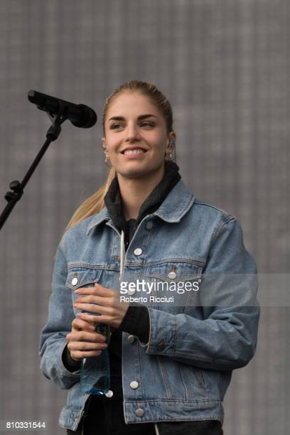 Hannah Reid of English band London Grammar performs on stage during TRNSMT Festival Day 1 at Glasgow Green on July 7 2017 in Glasgow Scotland
