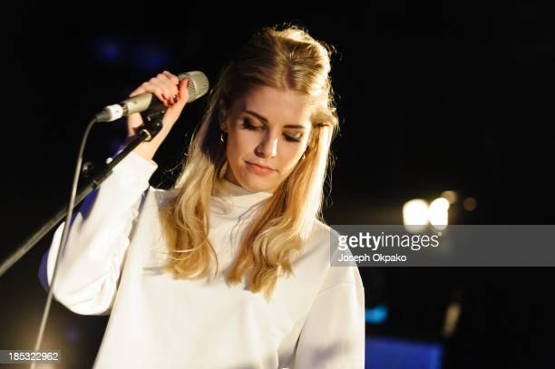 Hannah Reid of London Grammar performs at Electric Brixton on October 18 2013 in London England