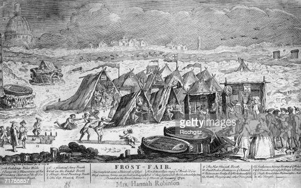 Hannah Robinson's souvenir of a visit to a Frost Fair on the frozen River Thames in London January 1749 The print shows a stretch of the river from...