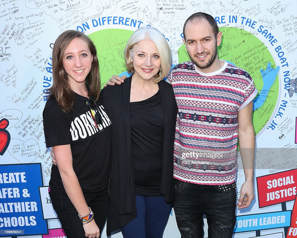 Hannah Roos, Cynthia Germanotta (Lady Gaga's mother) and Bobby Campbell of the Born This Way Foundation attend the 'Born Brave Bus' pre-show tailgate party on January 21, 2013 in Los Angeles, California.