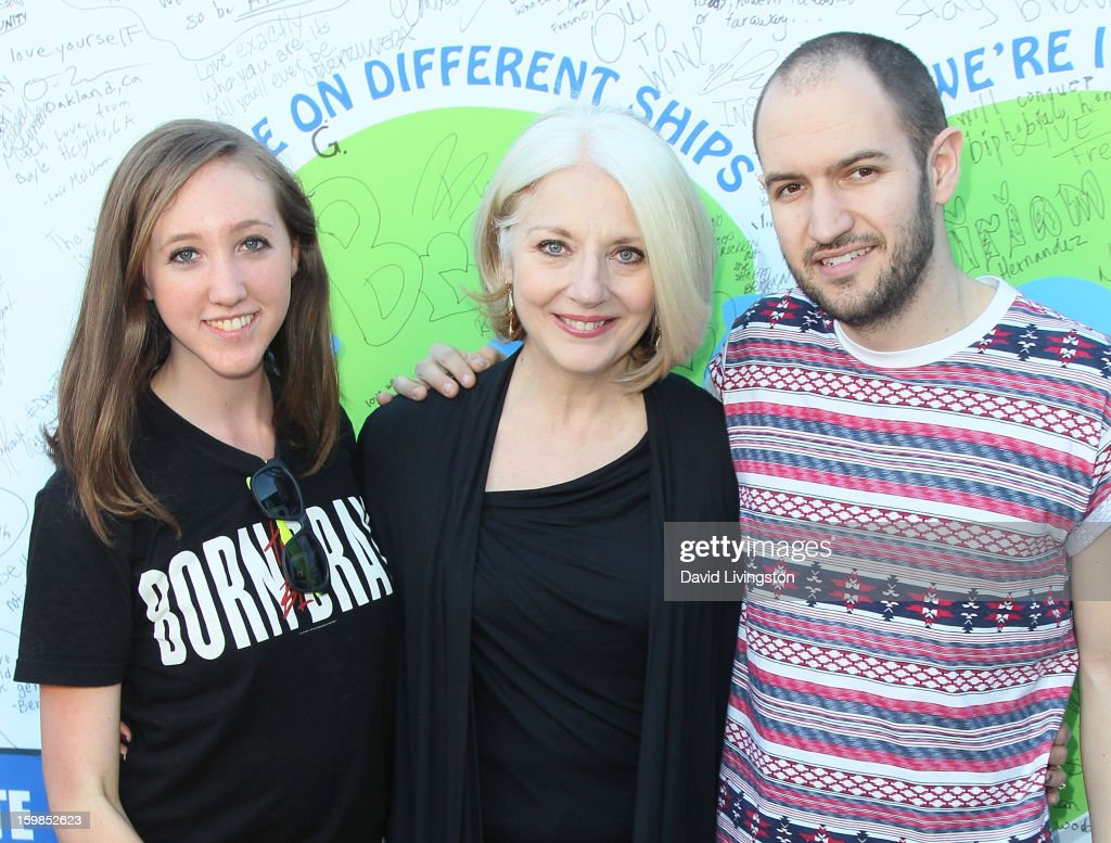 Hannah Roos, Lady Gaga's mother Cynthia Germanotta and Bobby Campbell attend the Born This Way Foundation's 'Born Brave Bus' Pre-show Tailgate Party at STAPLES Center on January 21, 2013 in Los Angeles, California.