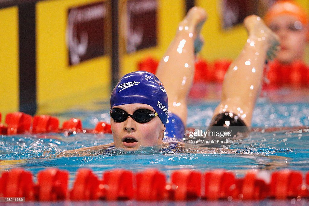 Hannah Russell of Great Britain looks on after she wins the silver medal for 2nd place in the Women's 200m Individual Medley SM12 Final during the IPC Swimming European Championships held at the Pieter van den Hoogenband Swimming Stadium on August 6, 2014 in Eindhoven, Netherlands.