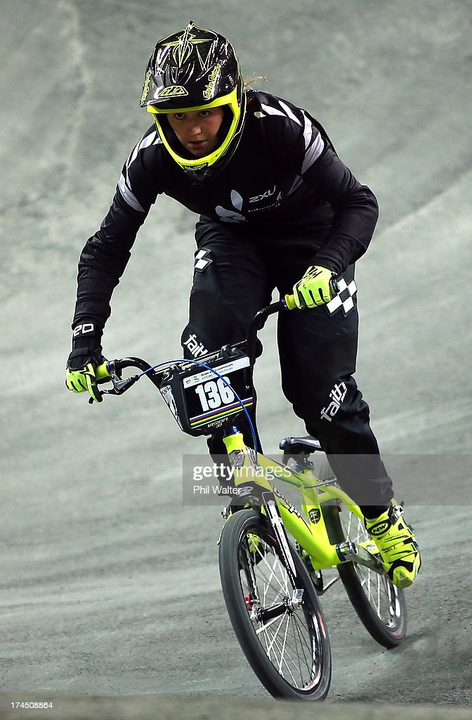 Hannah Sarten of New Zealand competes in the Junior Women Time Trial during day four of the UCI BMX World Championships at Vector Arena on July 27, 2013 in Auckland, New Zealand.