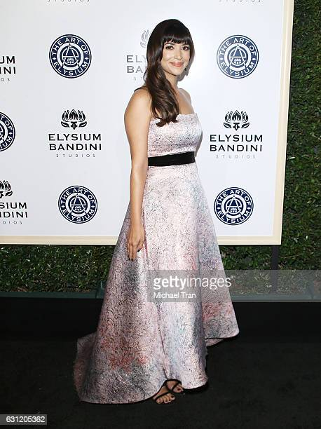Hannah Simone arrives at The Art of Elysium celebrating the 10th Anniversary held at Red Studios on January 7 2017 in Los Angeles California