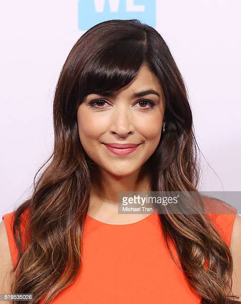 Hannah Simone attends the WE Day celebration dinner held at The Beverly Hilton Hotel on April 6 2016 in Beverly Hills California
