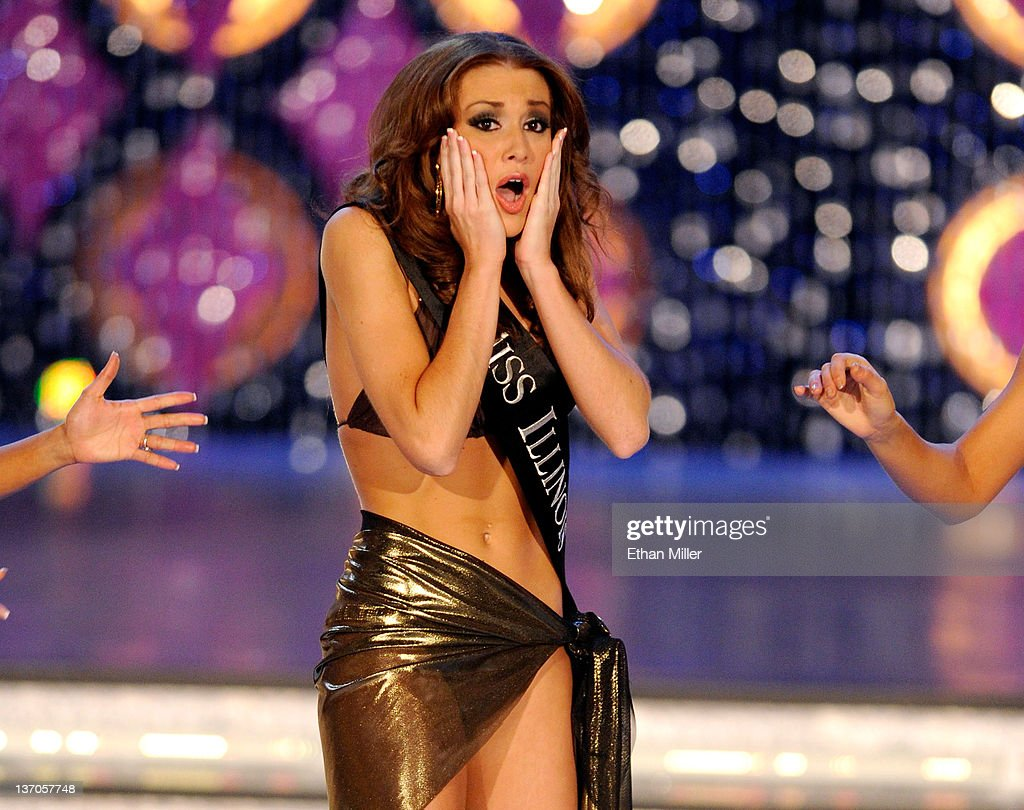 Hannah Smith, Miss Illinois, reacts after being named a top 13 finalist following the swimsuit competition during the 2012 Miss America Pageant at the Planet Hollywood Resort & Casino January 14, 2012 in Las Vegas, Nevada.