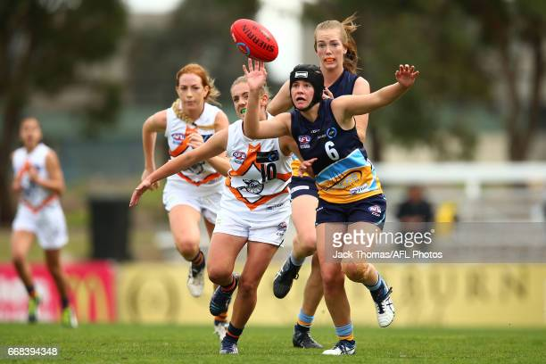 Hannah Spencer of the Bendigo Pioneers competes for the ball during to the TAC Cup Girls round five match between the Calder Cannons and the Bendigo...
