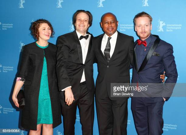 Hannah Steele August Diehl Raoul Peck and Stefan Konarske the 'The Young Karl Marx' premiere during the 67th Berlinale International Film Festival...