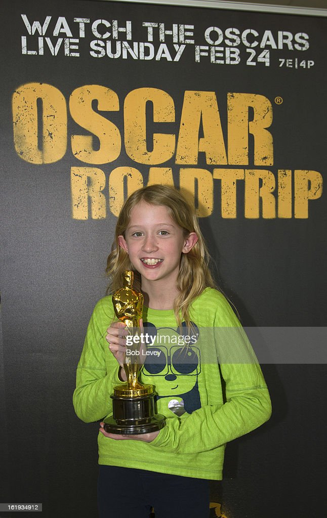Hannah Swartz of Austin, holds the Oscar statue during the First-Ever Oscar Roadtrip on February 17, 2013 in Houston, Texas.