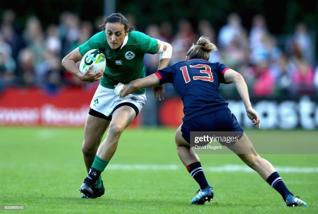 Hannah Tyrell of Ireland is tackled during the Women's Rugby World Cup Pool C match between France and Ireland at UCD Bowl on August 17, 2017 in Dublin, Ireland.