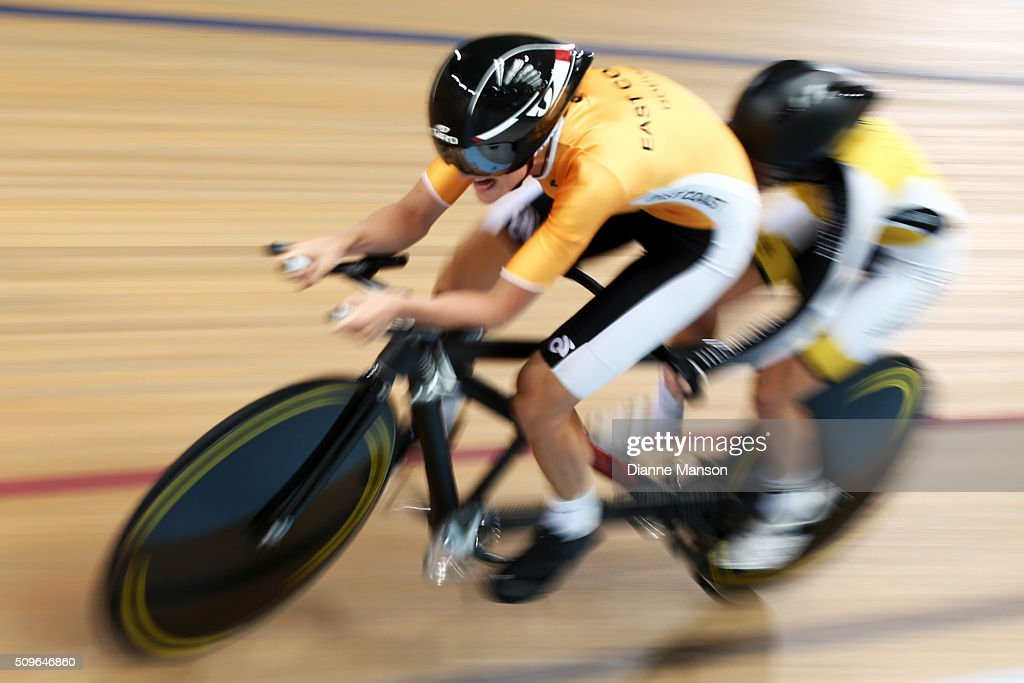 Hannah van Kampen (Pilot) and Amanda Cameron of Wellington compete in the Paracyclist Women Tandem 3000m Individual Pursuit during the New Zealand Track National Championships on February 12, 2016 in Cambridge, New Zealand.