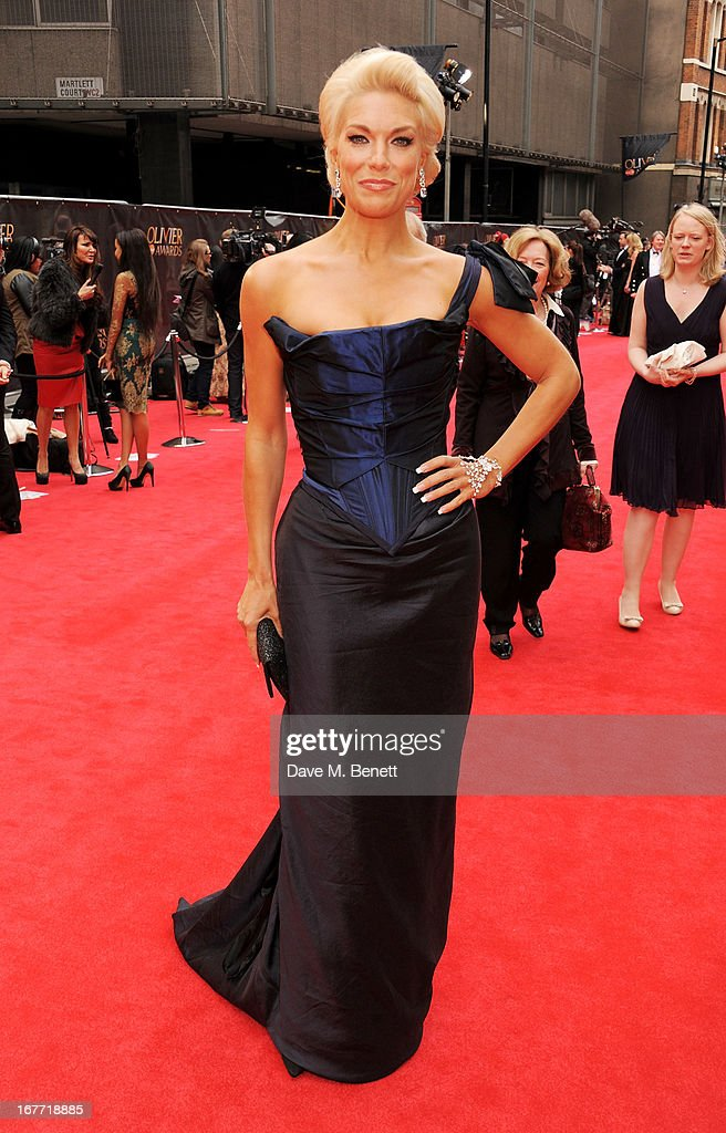 Hannah Waddingham arrives at The Laurence Olivier Awards 2013 at The Royal Opera House on April 28, 2013 in London, England.